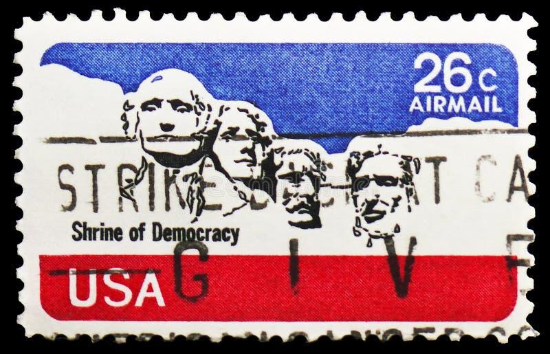 Pomnikowy Rushmore Krajowy pomnik, Airmail 1974-1976 seria oko?o 1974, zdjęcia royalty free