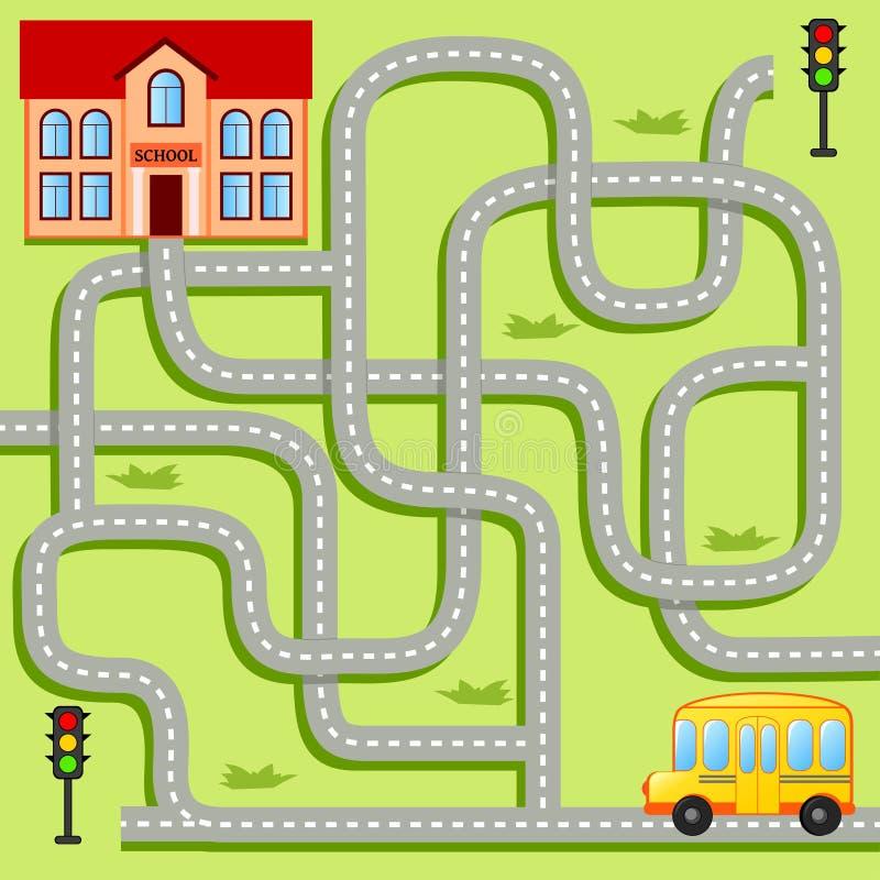 Pomoc autobusu szkolnego znaleziska ścieżka szkoła labitynt Dla dzieciaków labirynt gra ilustracja wektor