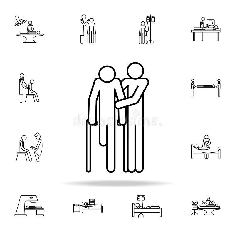 pomoc dla niepełnosprawnej ikony Medycyn ikon ogólnoludzki ustawiający dla sieci i wiszącej ozdoby ilustracja wektor