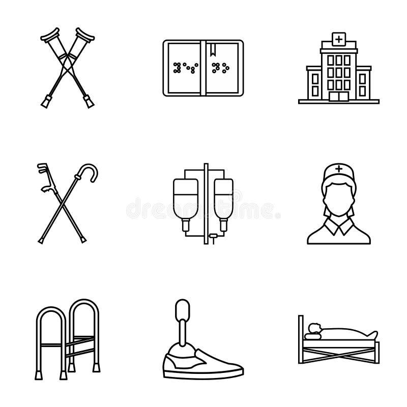 Pomoc dla niepełnosprawnych ikon ustawiać, konturu styl ilustracja wektor