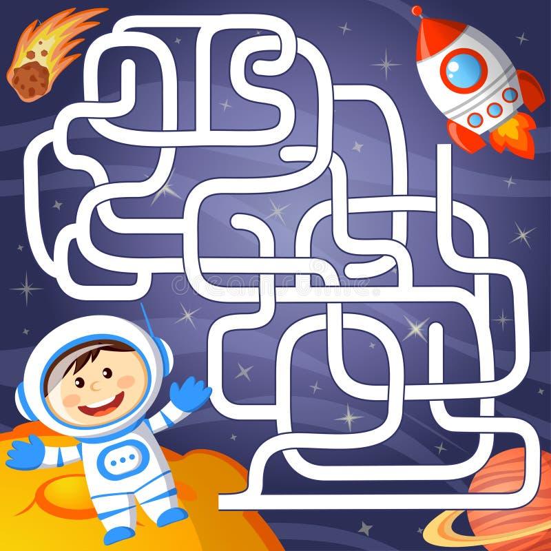 Pomoc kosmonauta znaleziska ścieżka podskakiwać labitynt Labirynt gra dla dzieciaka royalty ilustracja