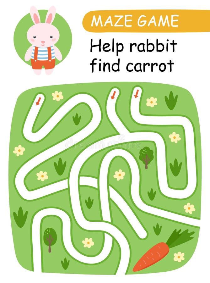 Pomoc królika znaleziska marchewki Dla dzieciaków labirynt gra wektor ilustracja wektor