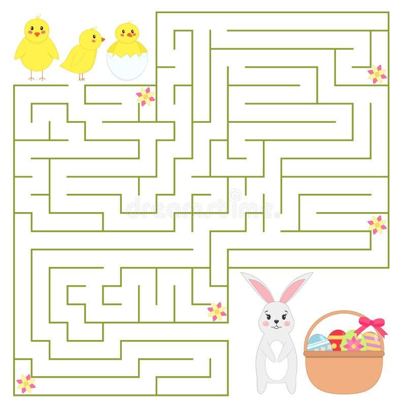 Pomoc kurczaki znajdują sposób w koszu Wielkanocny królik z Wielkanocnymi jajkami royalty ilustracja