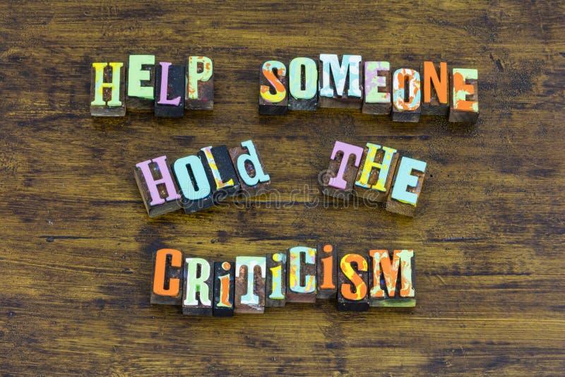 Pomoc someone chwyt krytyki problemu usługi dobroć był ładna zdjęcia stock