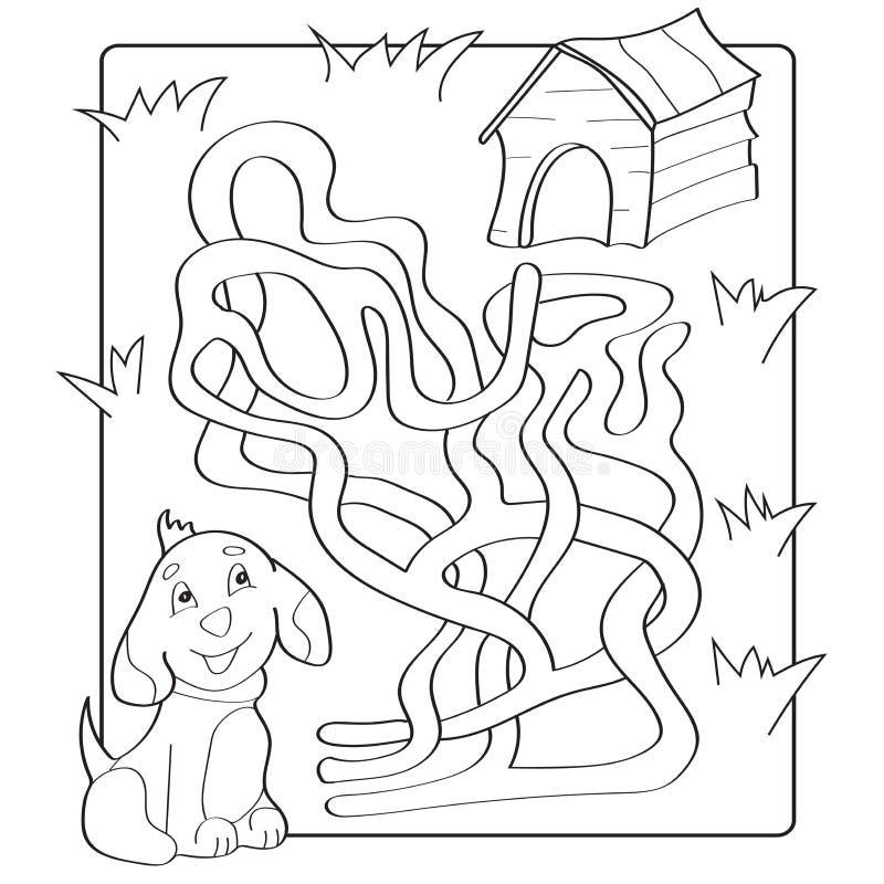 Pomoc szczeniaka znaleziska ścieżka jego dom labitynt Dla dzieciaków labirynt gra ilustracja wektor