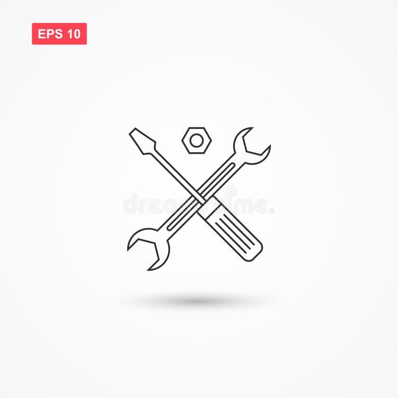 Pomoc techniczna symbol lub śrubokręt wektorowa ikona 1 royalty ilustracja
