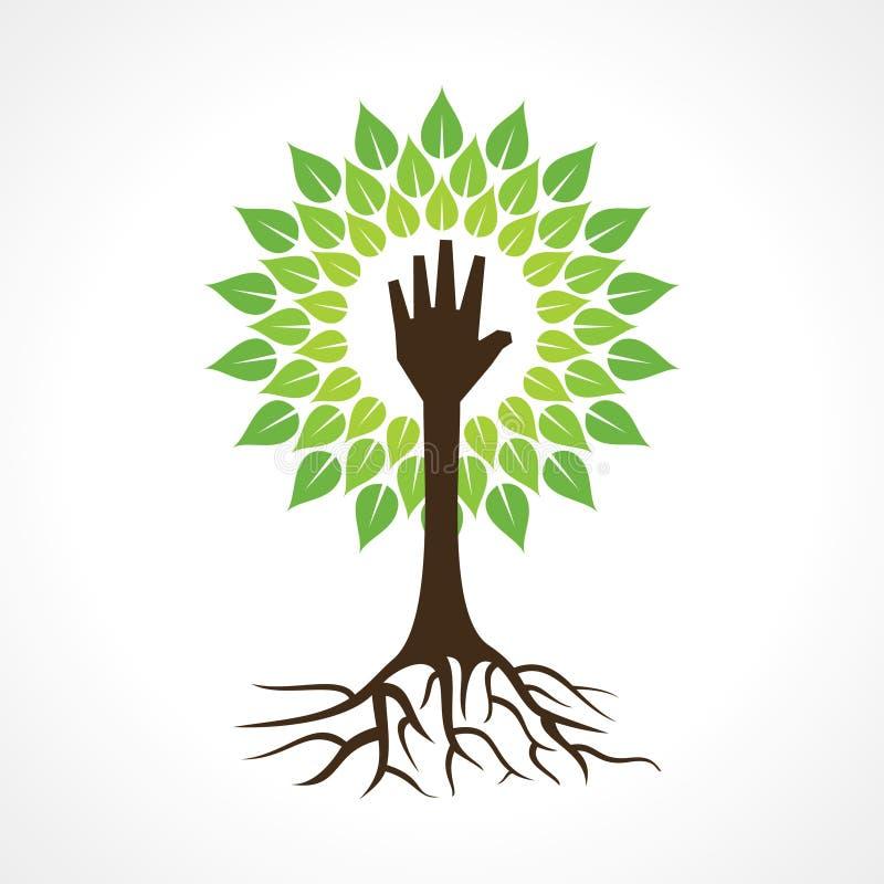 Pomocna dłoń robi drzewa ilustracja wektor