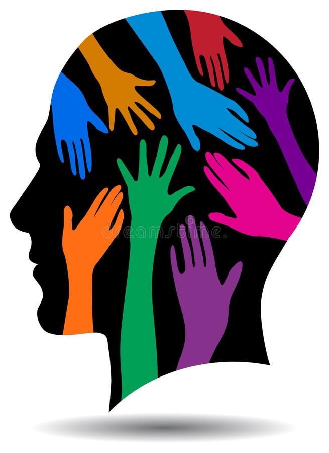 Pomocna dłoń umysłu logo na czerni głowie ilustracji