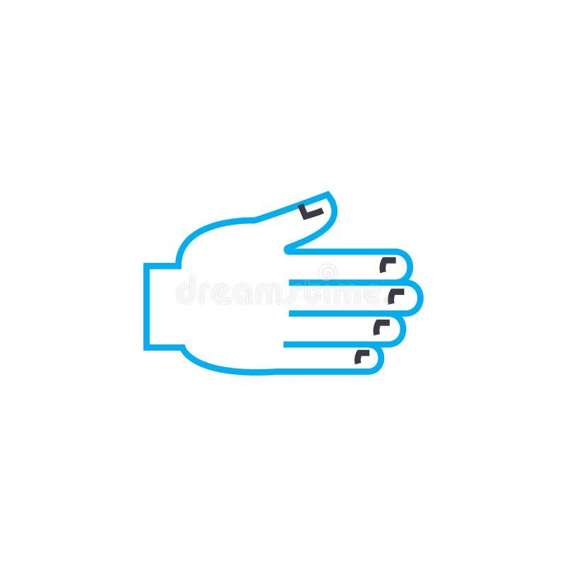 Pomocna dłoń wektoru uderzenia cienka kreskowa ikona Pomocna dłoń konturu ilustracja, liniowy znak, symbolu pojęcie royalty ilustracja