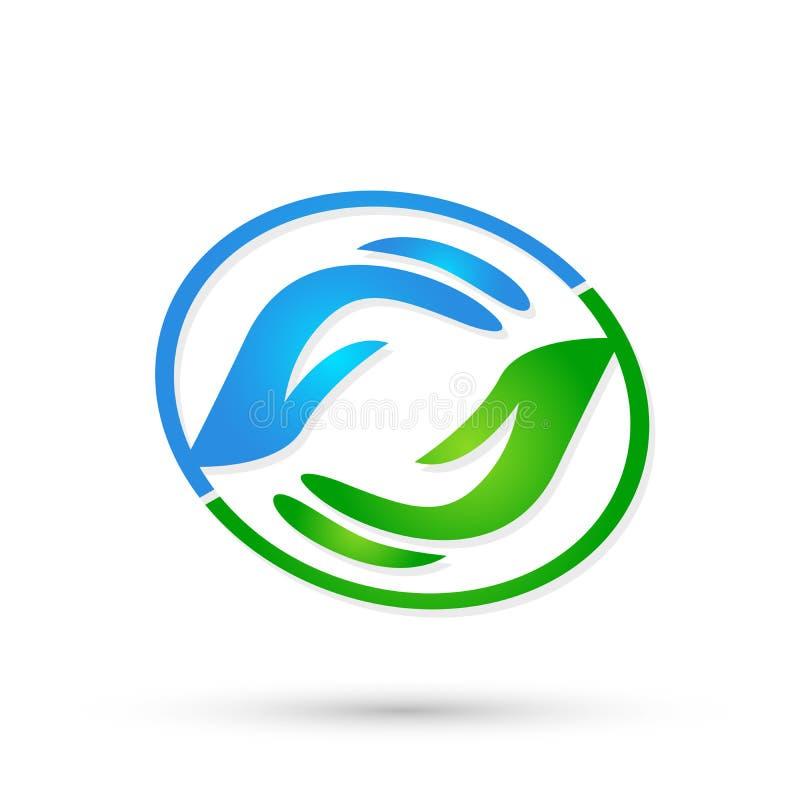 Pomocne dłonie dbają ręka logo ikony wektorowych projekty na białym tle ilustracji