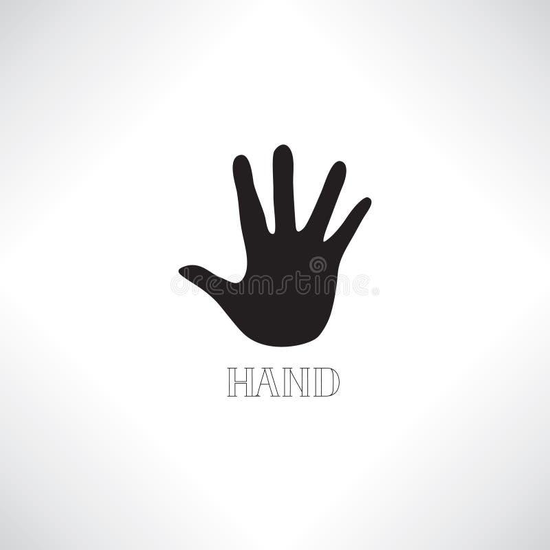 Pomocnej dłoni ikona Ludzka ręki sylwetka z cieniem i literowaniem royalty ilustracja