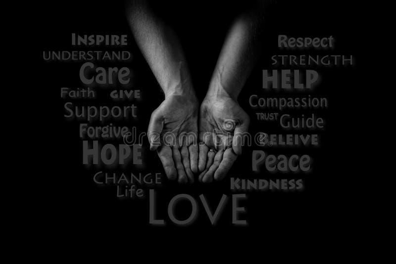 Pomocnej dłoni pojęcie Mężczyzna ` s wręcza palmy up, dawać opieki miłości i poparcia Słowo CLOUD fotografia royalty free