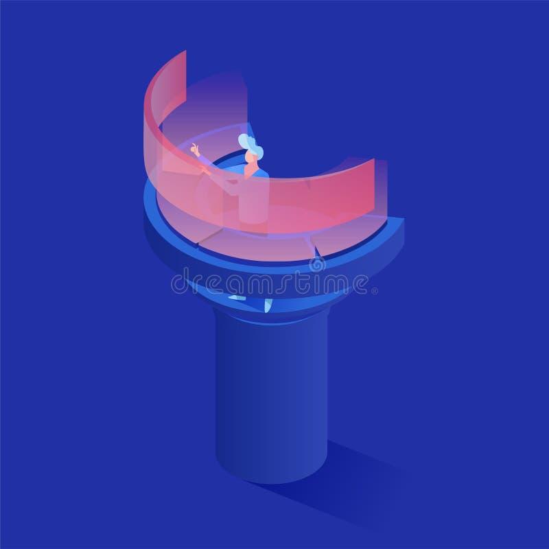 Pomocniczy działanie przy 3d deski rozdzielczej isometric ilustracją Zarządzanie danymi ekspert, pomoc techniczna pracownik używa royalty ilustracja