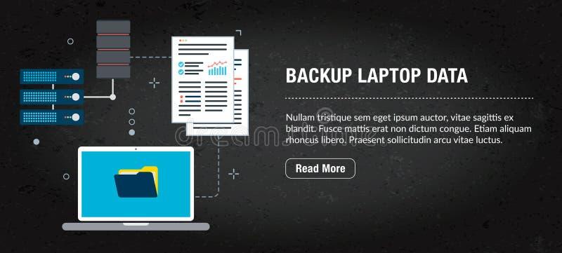 Pomocniczy laptopów dane, sztandaru internet z ikonami w wektorze zdjęcie royalty free