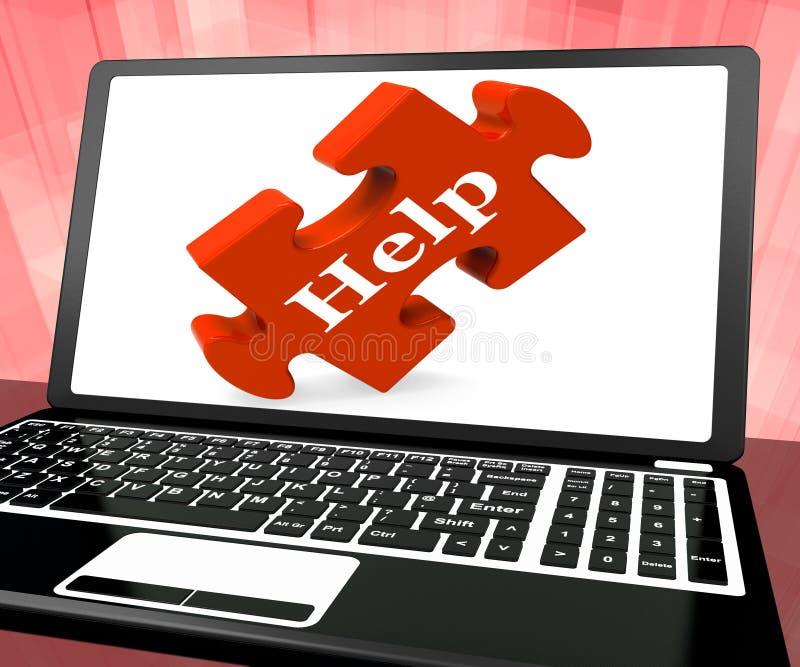 Pomocy łamigłówka Na laptopie Pokazuje Online poparcie ilustracji