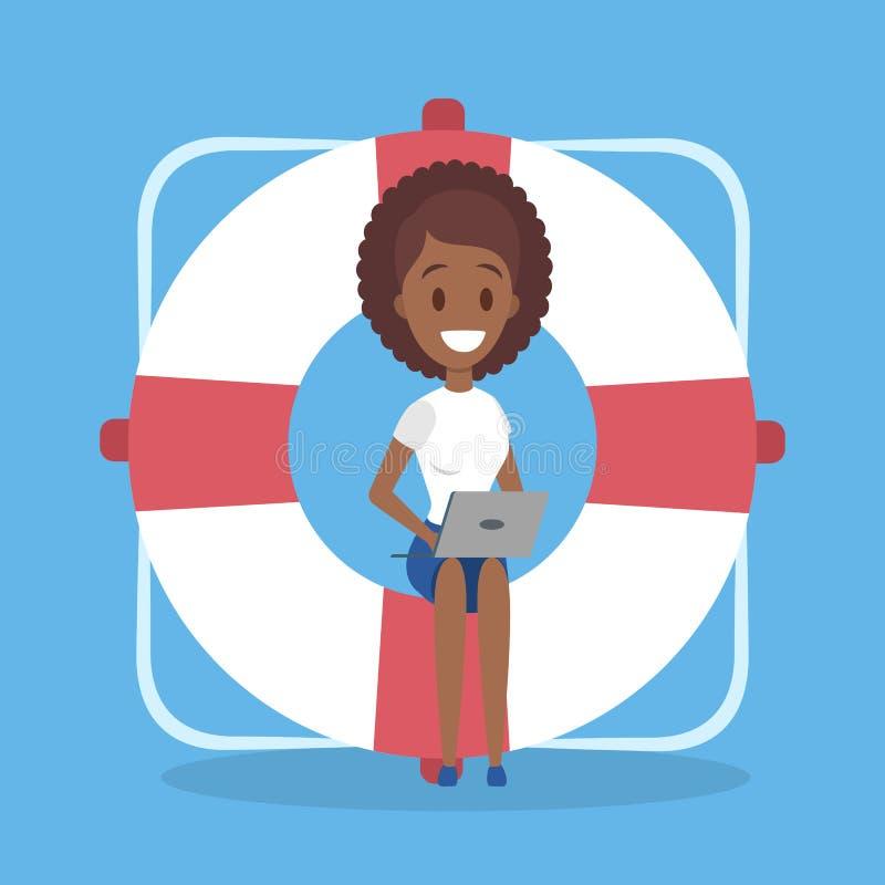 Pomocy i poparcia pojęcie Kobiety obsiadanie na gigantycznej linie ratowniczej ilustracji