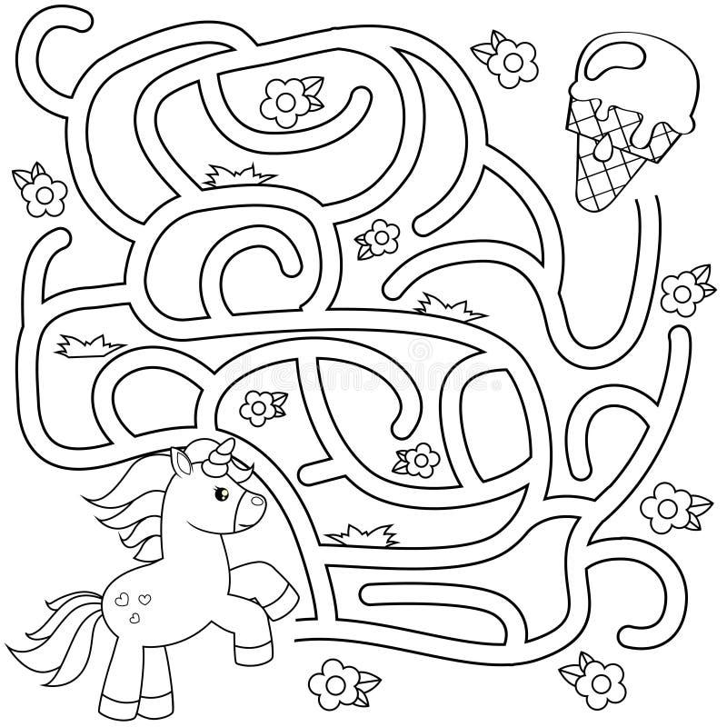 Pomocy jednorożec znaleziska ścieżka lody labitynt Dla dzieciaków labirynt gra Czarny i biały wektorowa ilustracja dla kolorystyk ilustracja wektor