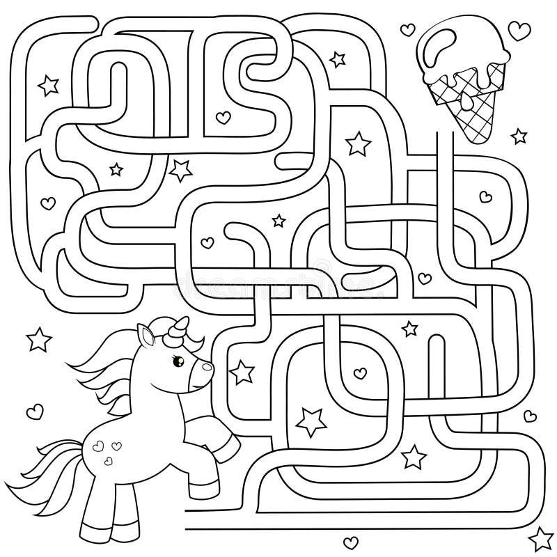 Pomocy jednorożec znaleziska ścieżka lody labitynt Dla dzieciaków labirynt gra Czarny i biały wektorowa ilustracja dla kolorystyk ilustracji