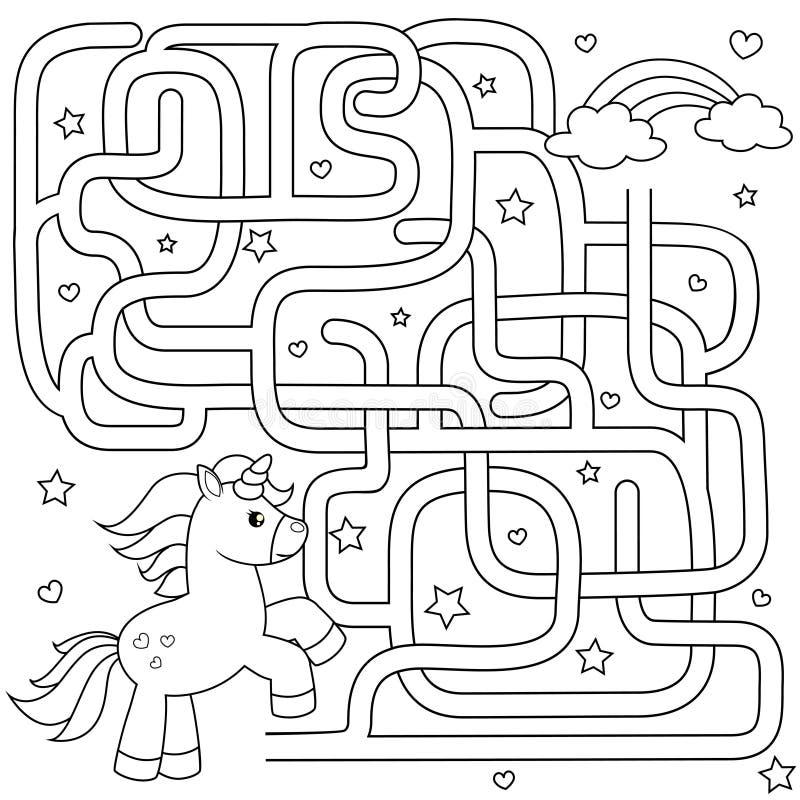 Pomocy jednorożec znaleziska ścieżka tęcza labitynt Dla dzieciaków labirynt gra Czarny i biały wektorowa ilustracja dla kolorysty ilustracji