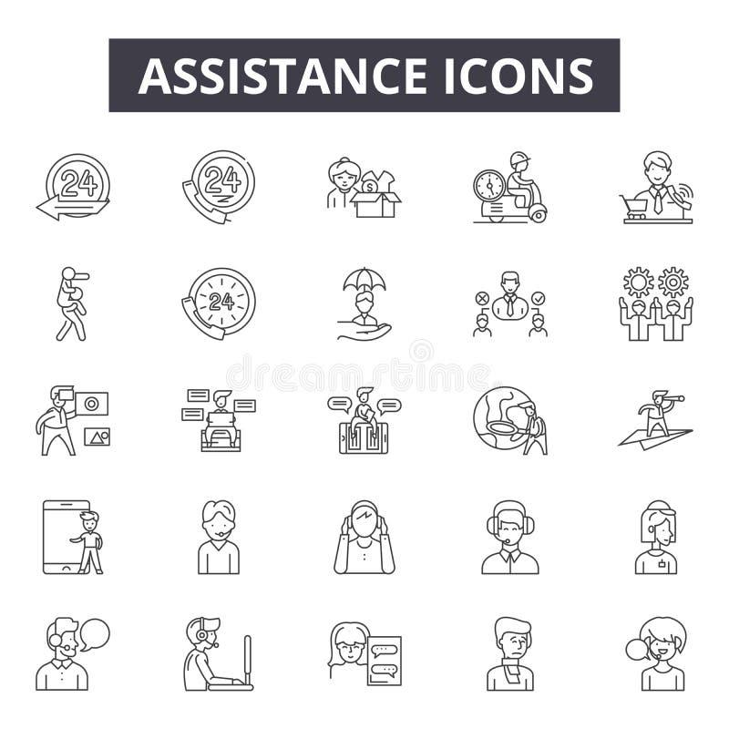Pomocy kreskowe ikony dla sieci i mobilnego projekta Editable uderzenie znaki Pomoc konturu pojęcia ilustracje ilustracja wektor