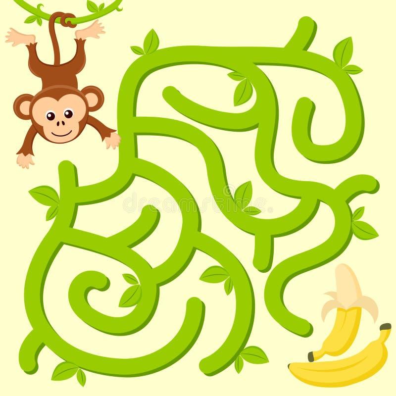 Pomocy małpy znaleziska ścieżka banan labitynt Dla dzieciaków labirynt gra royalty ilustracja