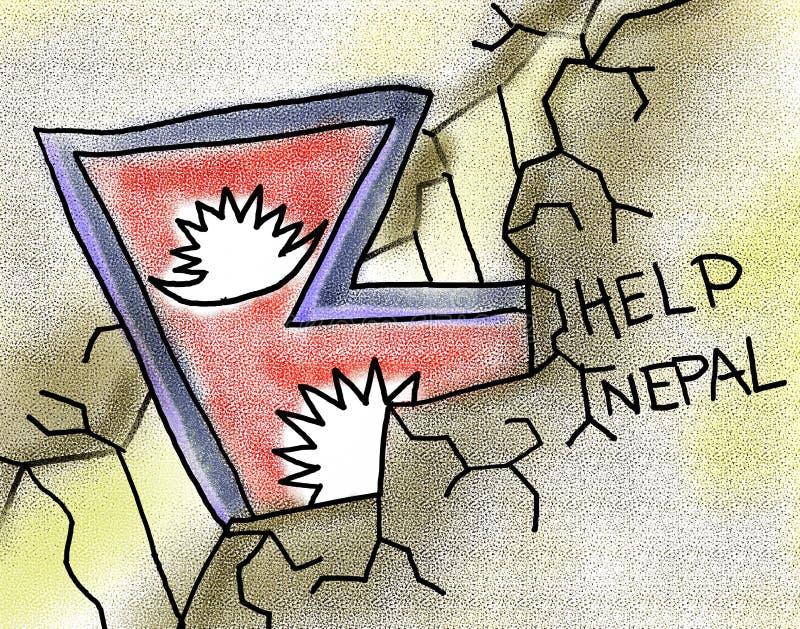 Pomocy Nepal trzęsienia ziemi ilustracja ilustracja wektor
