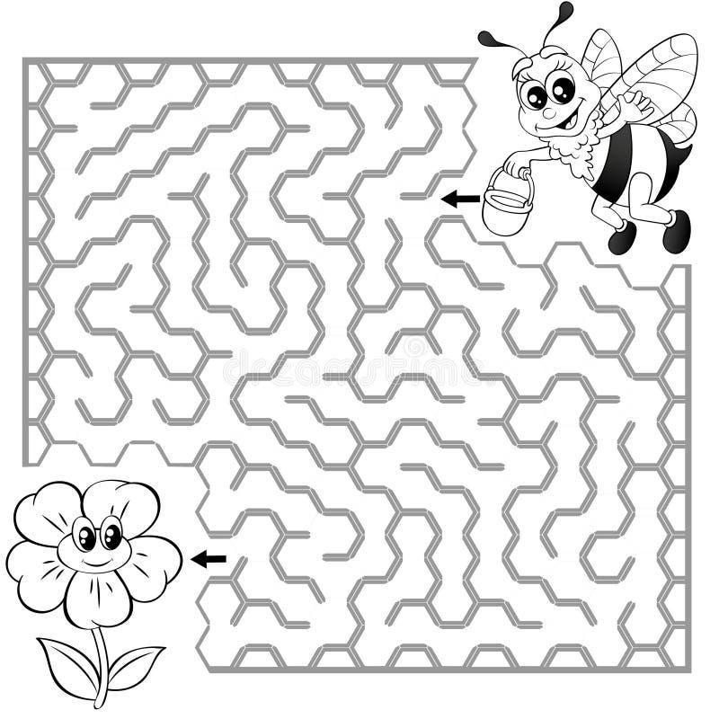 Pomocy pszczoły znaleziska ścieżka kwitnąć labitynt Dla dzieciaków labirynt gra Czarny i biały wektorowa ilustracja dla kolorysty royalty ilustracja