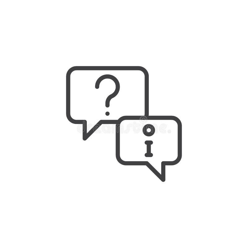 Pomocy technicznej pytania konturu ikona royalty ilustracja