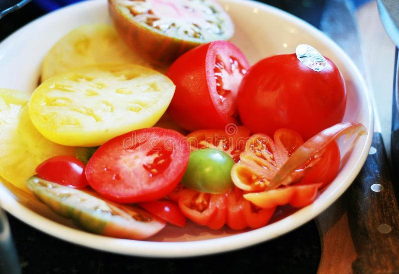 Pomodori affettati di cimelio immagine stock libera da diritti