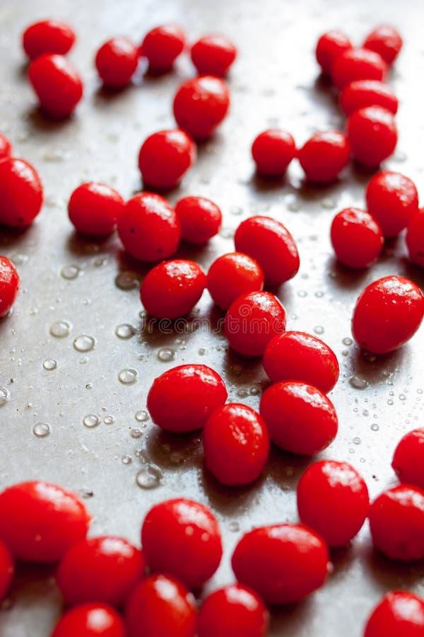 Pomodori ciliegia freschi sullo strato di cottura immagini stock