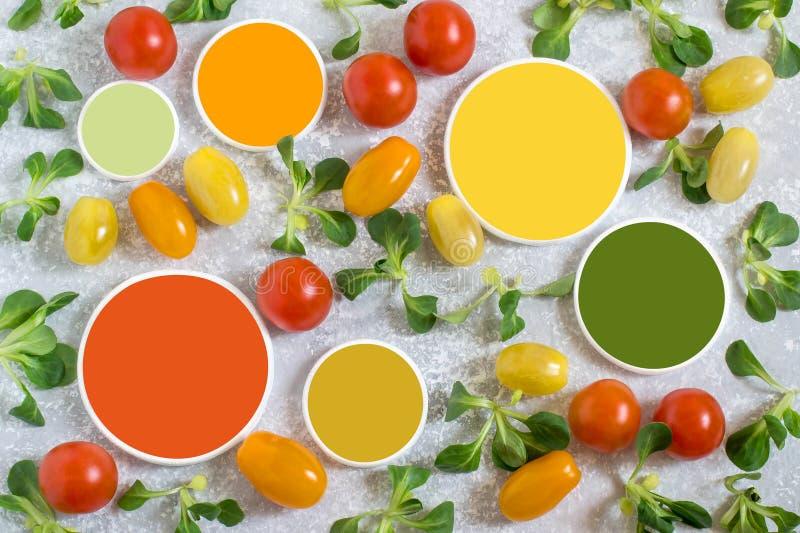 Pomodori ciliegia multicolori, insalata dell'agnello e campioni di colore fotografia stock libera da diritti