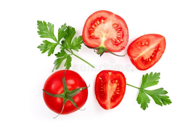 Pomodori con le foglie del prezzemolo isolate su fondo bianco Vista superiore Disposizione piana immagine stock libera da diritti