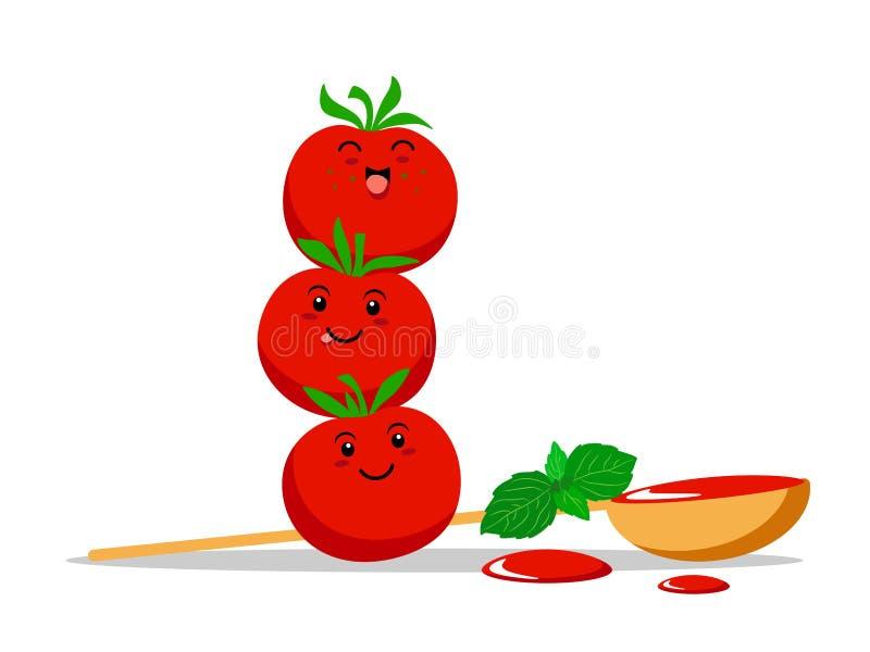 Pomodori divertenti di kawaii con le foglie del basilico, il cucchiaio di legno e le gocce della salsa Illustrazione di vettore s illustrazione vettoriale