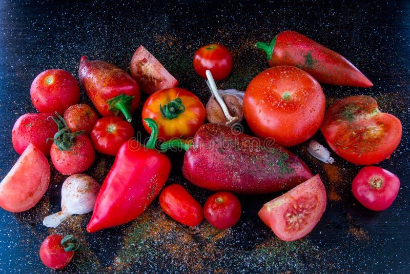 Pomodori e peperoni coltivati freschi con le spezie ed il sale marino rovesciati a fondo nero fotografia stock