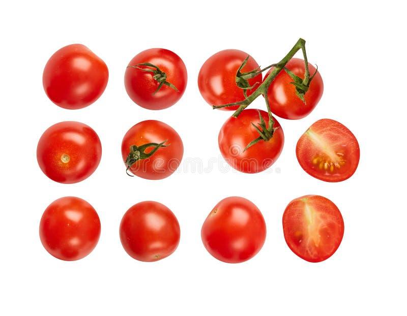 Pomodori maturi freschi isolati su fondo bianco Ingredienti per cucinare Vista superiore fotografia stock