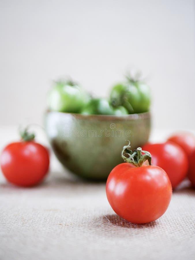 Pomodori rossi e verdi fotografia stock