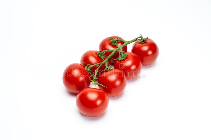 Pomodori rossi sul ramoscello su fondo bianco fotografie stock libere da diritti
