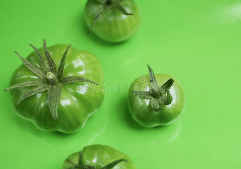 Pomodori verdi Flatlay fotografia stock