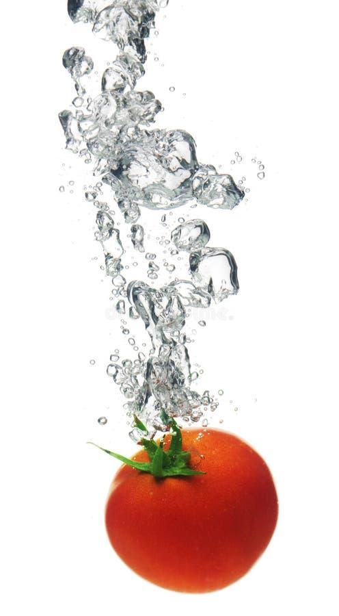 Pomodoro che spruzza in acqua fotografia stock