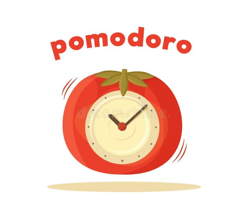 Pomodoro Clock Card Colored Vector Illustration stock illustration