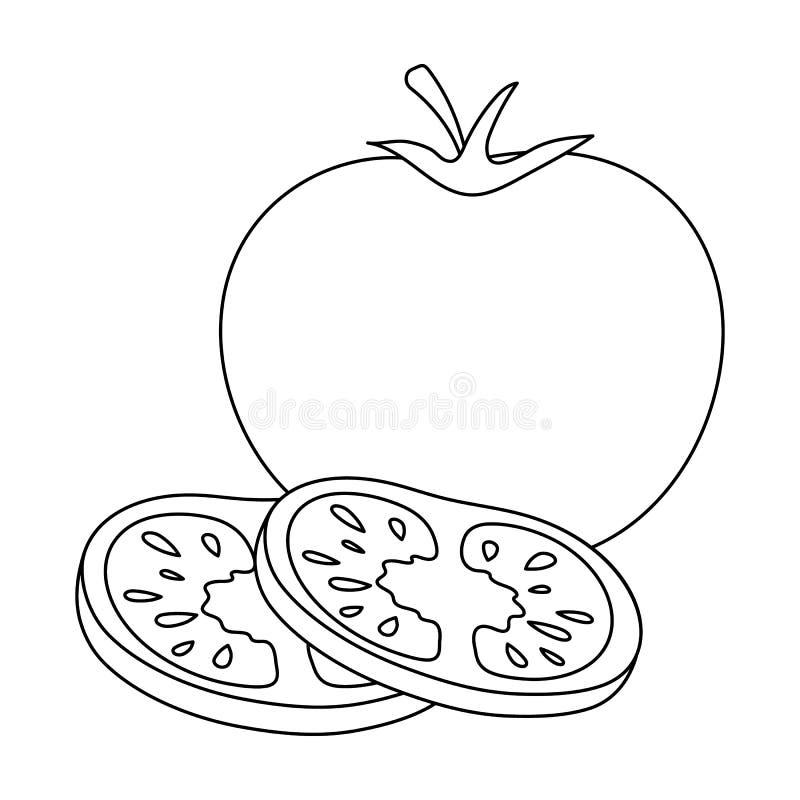 Pomodoro con una foglia Gli hamburger e gli ingredienti scelgono l'icona nell'illustrazione delle azione di simbolo di vettore di royalty illustrazione gratis