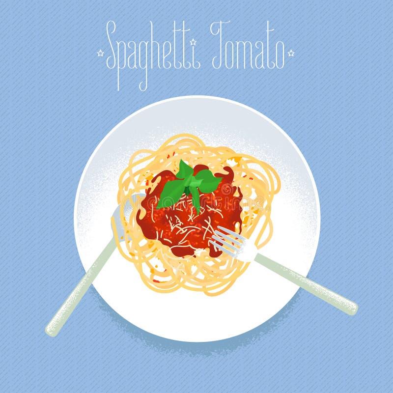 Pomodoro degli spaghetti, elemento italiano di progettazione di vettore della pasta illustrazione vettoriale