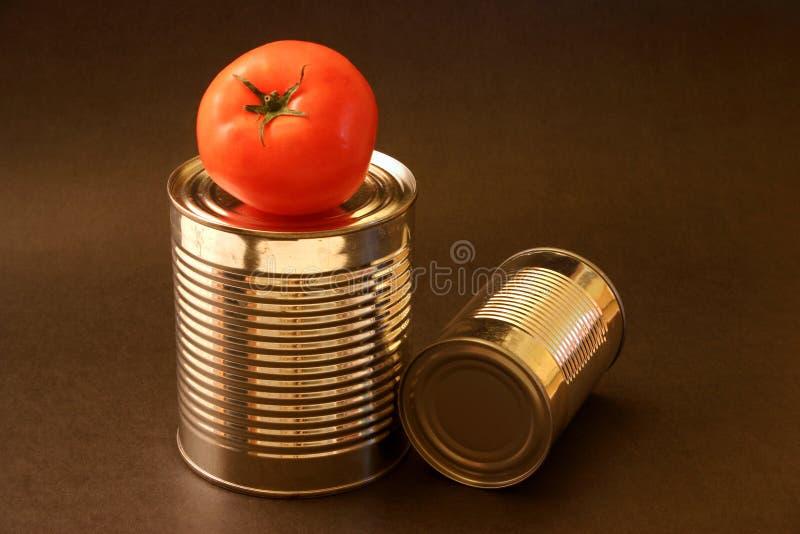 Pomodoro e latte di alluminio immagini stock libere da diritti