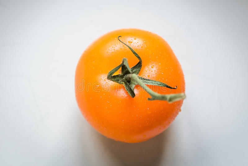 Pomodoro nel colore arancio da solo su fondo bianco fotografia stock libera da diritti