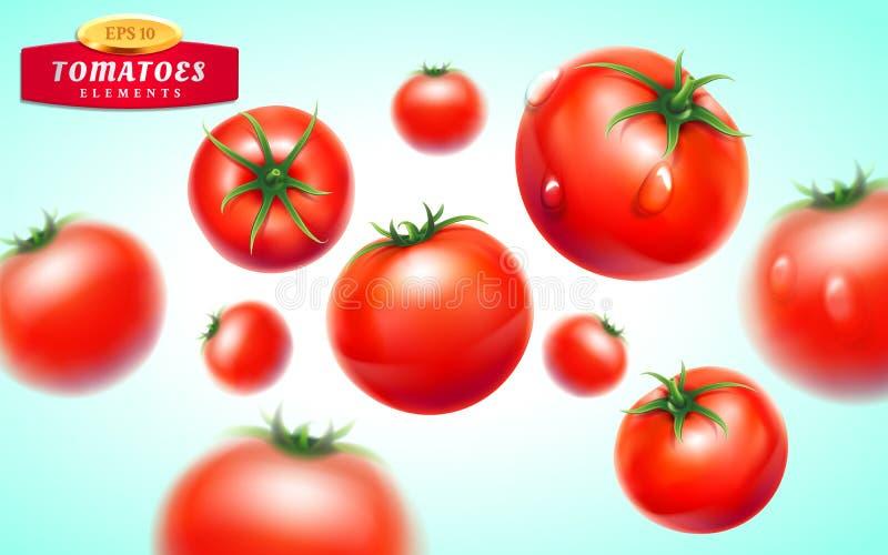 Pomodoro realistico, 3d, frutta, verdura, succo, ketchup, fresco royalty illustrazione gratis