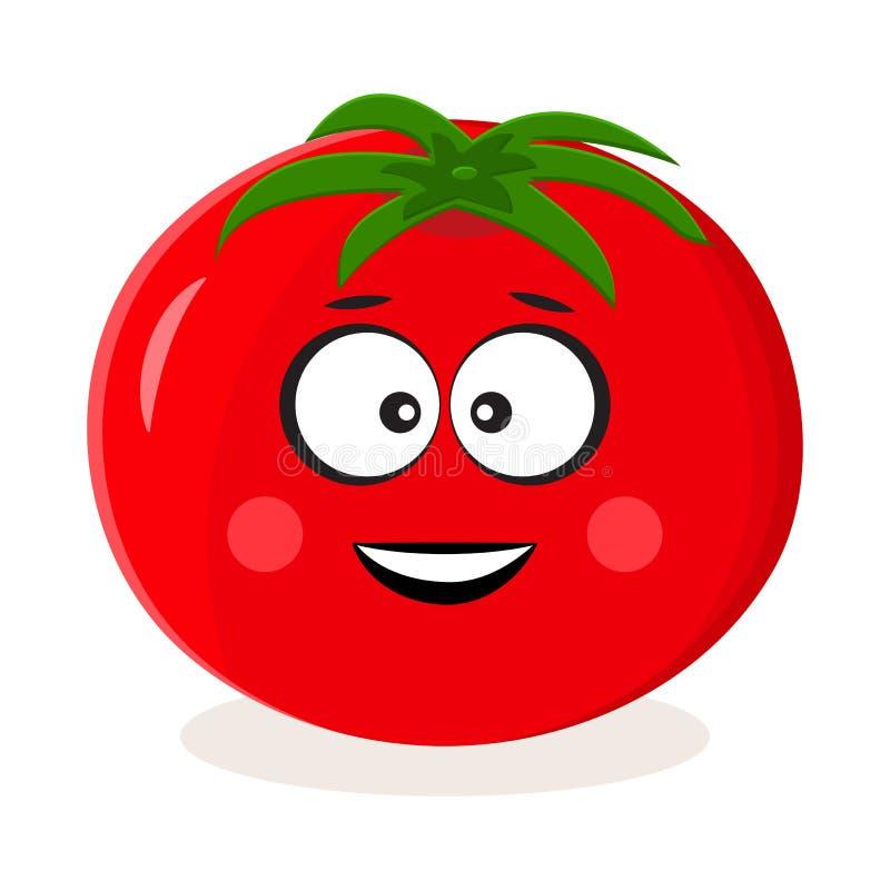 Pomodoro rosso del fumetto Emoticon di verdure Illustrazione di vettore illustrazione vettoriale