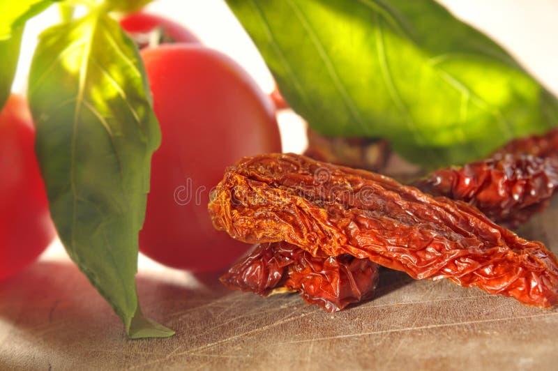 Pomodoro secco e pomodoro fresco fotografie stock