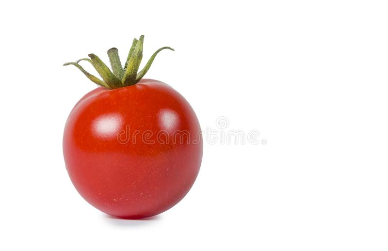 Pomodoro uno isolato nel bianco, maturo rosso fotografia stock