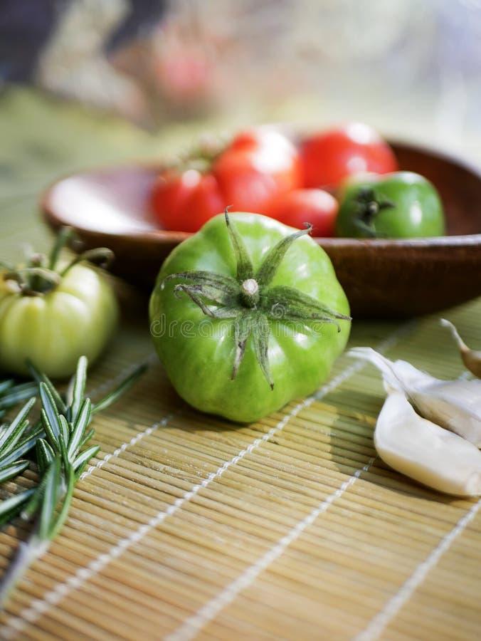 Pomodoro verde che cucina dettaglio immagini stock libere da diritti
