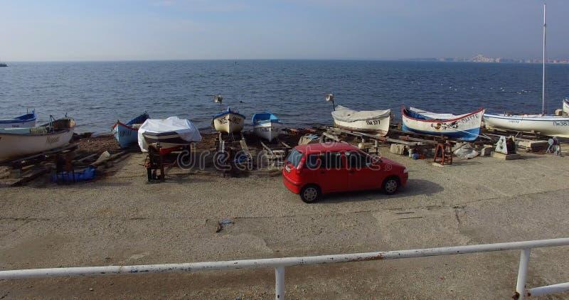 Pomorian渔夫运输在保加利亚 库存照片